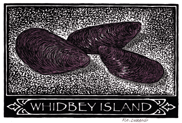 "Lino-cut ""MUSSELS"" By Peter A. Durand"