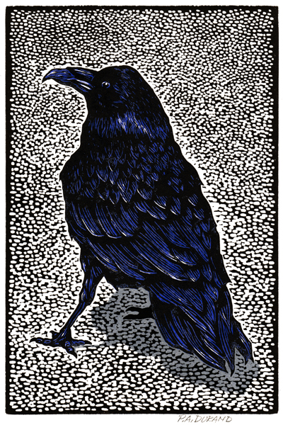 "Linocut ""RAVEN"" By Peter A. Durand"