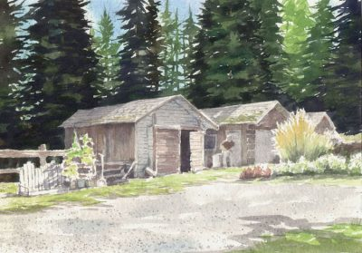 Langley Farm - watercolor by Peter Durand