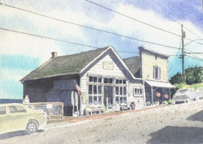 Coupeville Stores - watercolor by Peter Durand