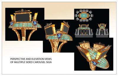 Carousel Perspective and Elevation Casino Sign - Adobe Illustrator Graphics by Peter Durand