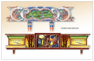 Riches from the Deep and Downstream Casino Resort Casino Signs by Artist Peter Durand