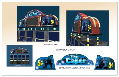 The Caper Casino Sign Display Vector and 3D by Artist Peter Durand
