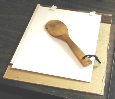 Spoon used by Artist Peter A. Durand to test the first print of a linocut