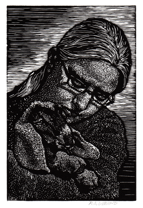 "Lino-cut ""HEIDI"" By Peter A. Durand"