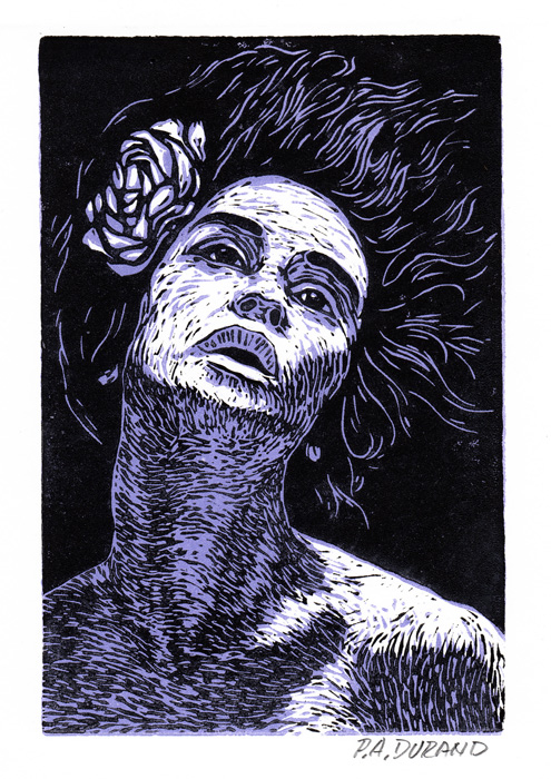 "Lino-cut ""LADY WITH FLOWER"" By Peter A. Durand"