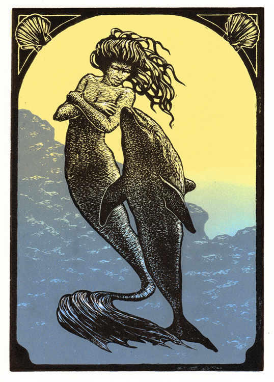 "Lino-cut ""MERMAID AND FRIEND"" By Peter A. Durand"