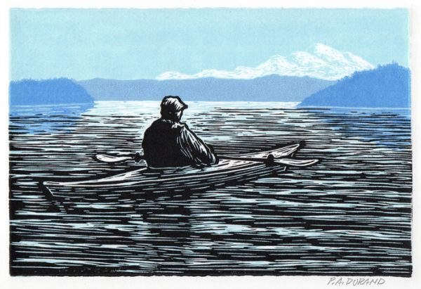 "Lino-cut ""ON THE WATER"" By Peter A. Durand"