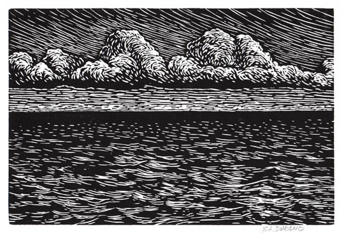 "Lino-cut ""OCEAN AND CLOUDS"" By Peter A. Durand"