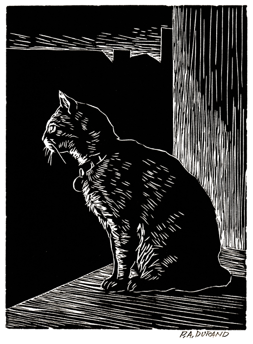 "Lino-cut ""THE OBSERVER"" By Peter A. Durand"