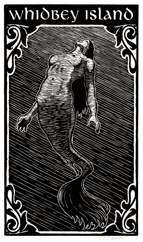 "Lino-cut ""WHIDBEY ISLAND MERMAID"" By Peter A. Durand"