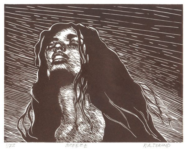 "Lino-cut ""BREEZE"" By Peter A. Durand"