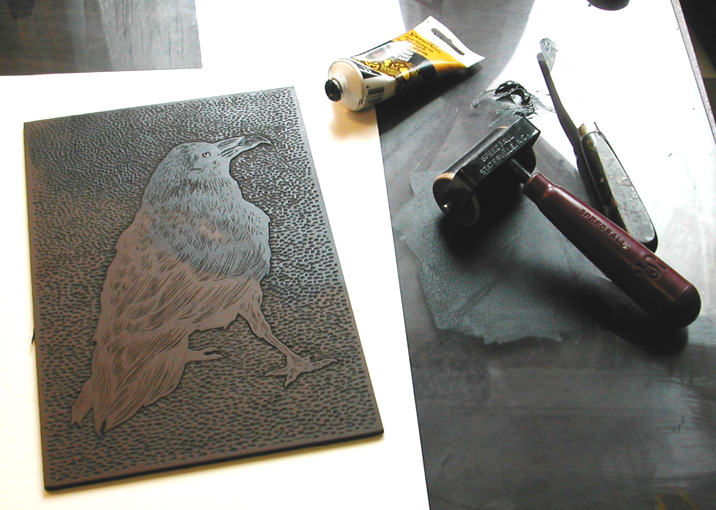 Linocut Tools For Inking Linoleum Sheets